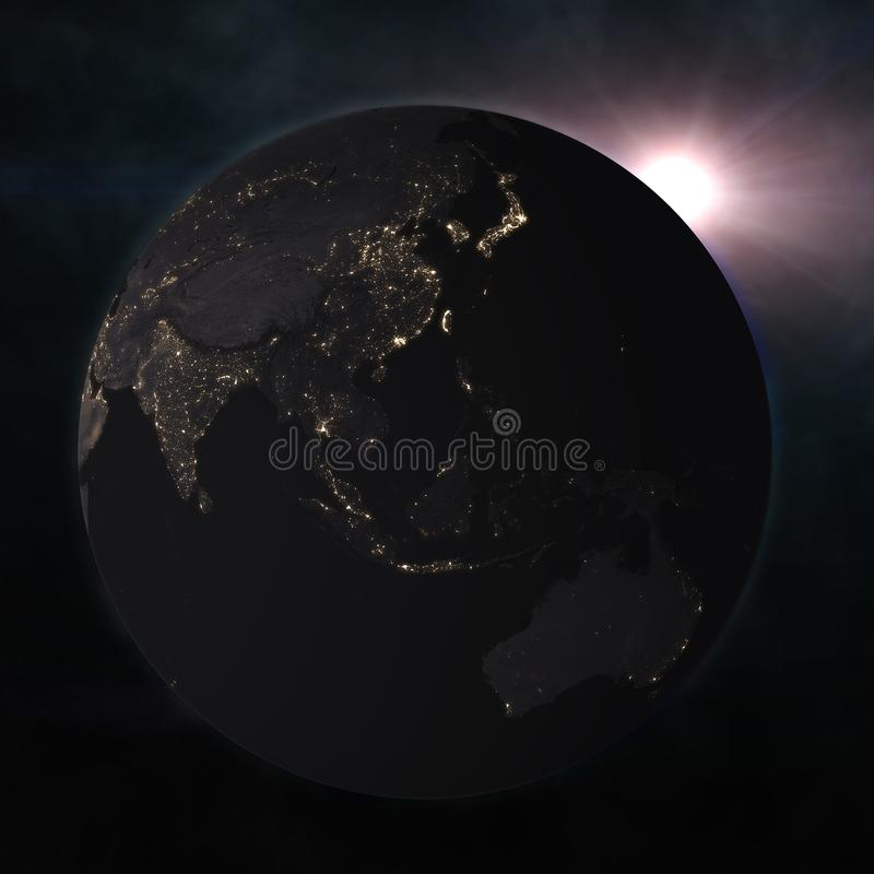 Night globe with city lights. Elements of this image furnished by NASA. 3d illustration stock illustration