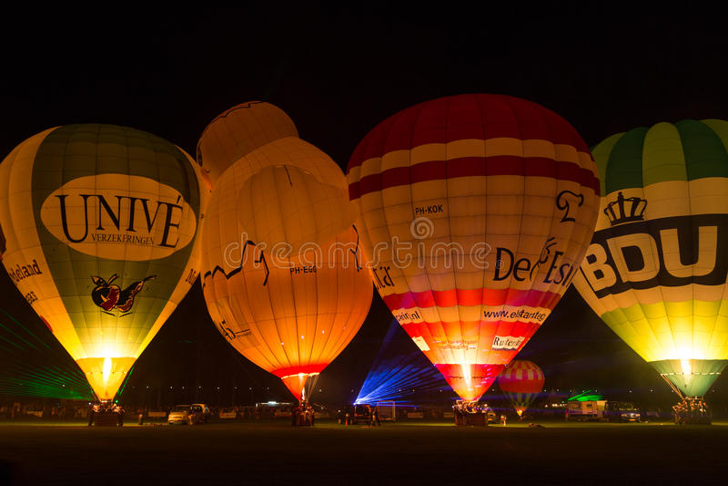 Night glow hot air balloon fiesta stock images