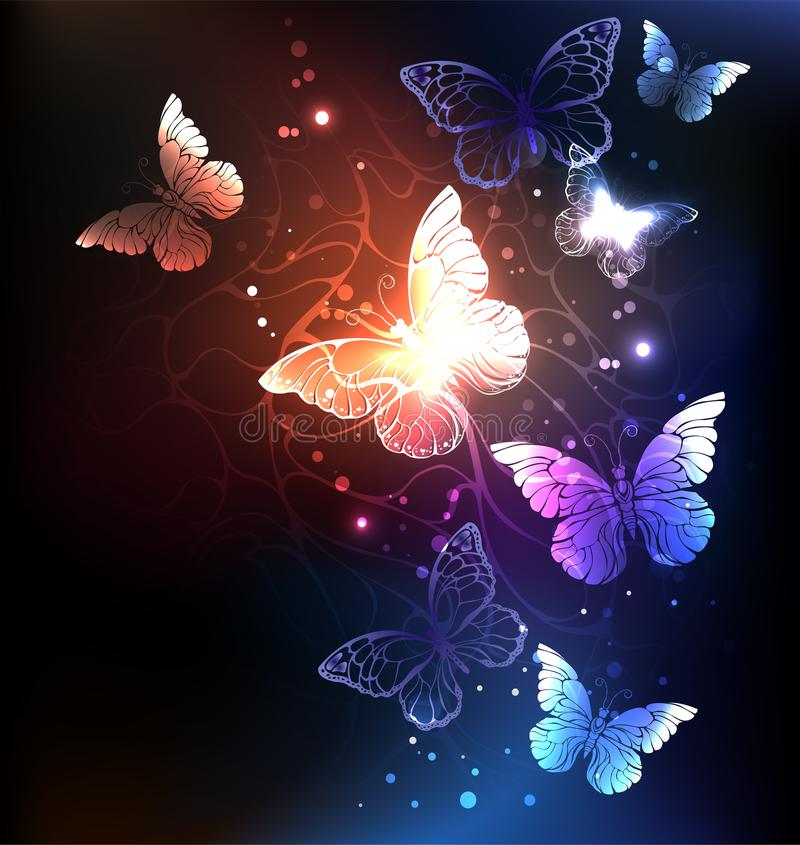 Night butterflies. Night glowing butterflies on a dark abstract background. Night butterflies. Design with butterflies royalty free illustration
