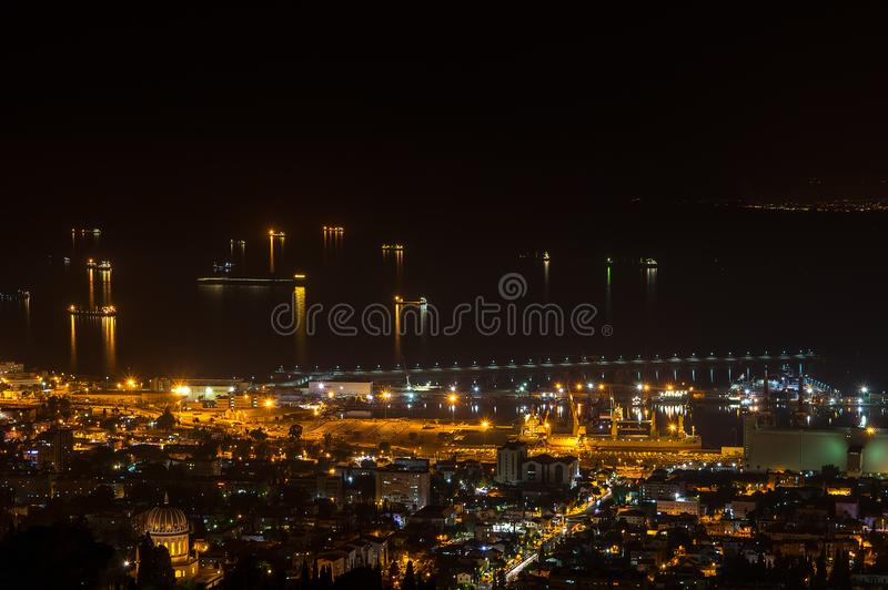 Night Haifa port. Israel. Night Haifa port. Israel, night lights on ships in port royalty free stock image