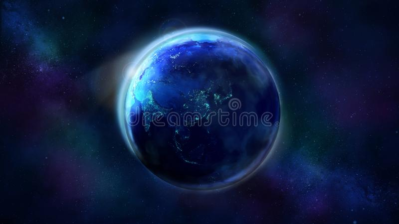 The night half of the Earth from space showing Asia, Australia and Oceania. Realistic Earth from space showing Asia, Australia and Oceania. The night half of royalty free stock photography