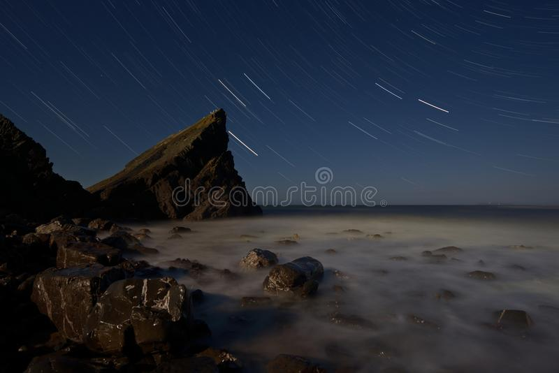 A Night in Hartland Quay royalty free stock images