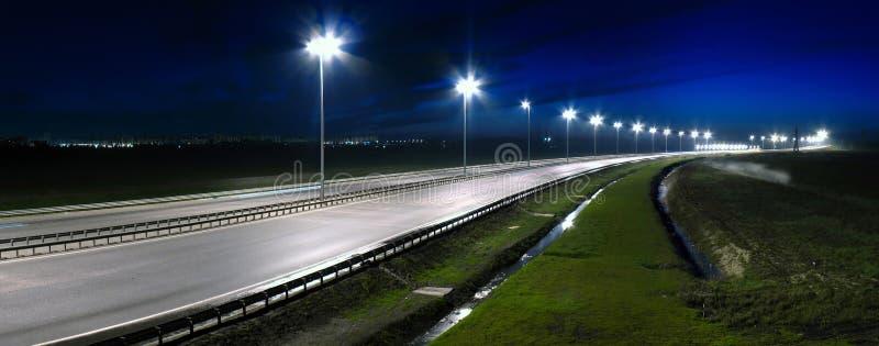 Night highway. Panorama of night highway. 3 foto royalty free stock image