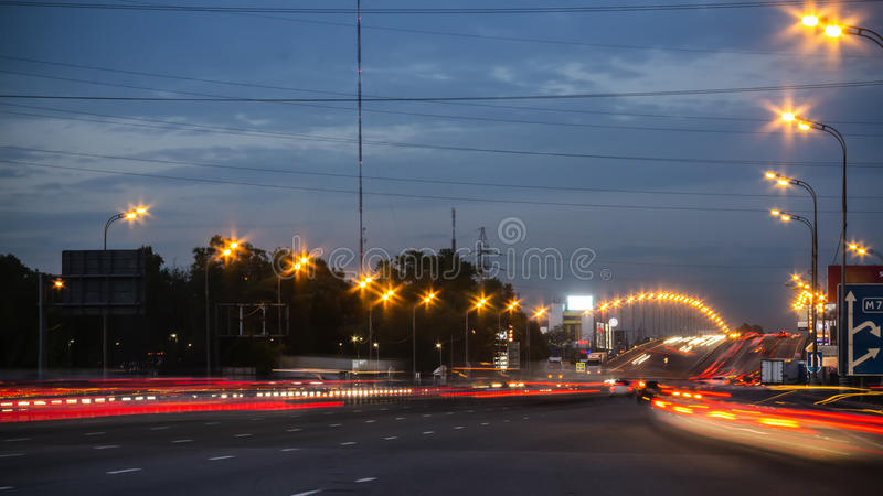 Night highway motion stock image