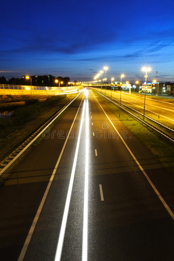Night Highway Traffic Stock Image