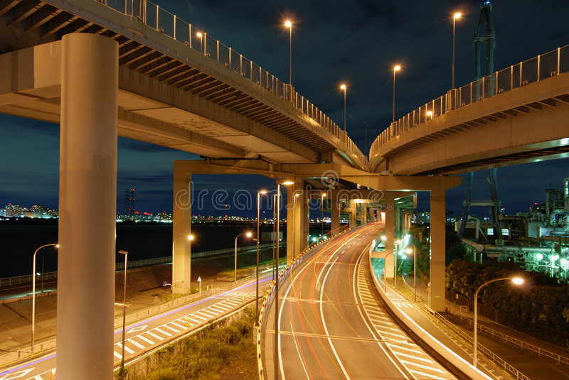 Download Night highways stock photo. Image of lights, outdoor, blue - 3099356