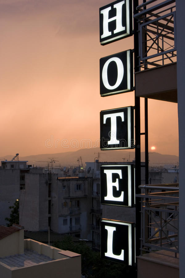 Night hotel in athens royalty free stock images