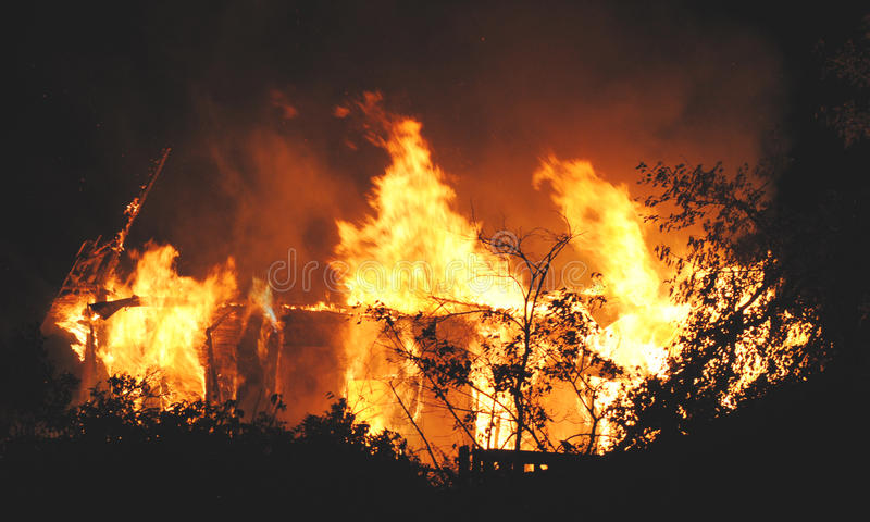 Night house fire close up insurance case. Abstract royalty free stock photos
