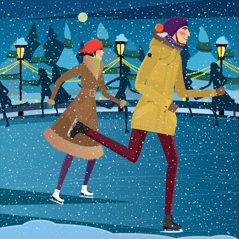 Night at the ice rink. Couple skating on ice rink at night - Yule Fest concept vector illustration