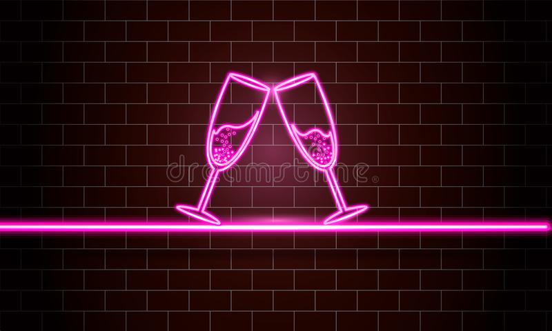 Glowing neon sign of champagne. stock image