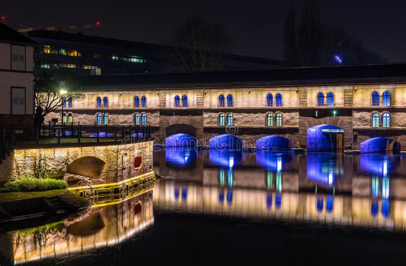 Night illumination of Barrage Vauban in Strasbourg, France. Night illumination of Barrage Vauban or Vauban weir in Strasbourg, France royalty free stock photography