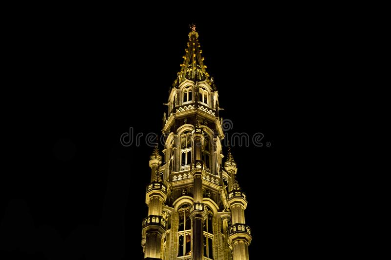 Night illumination at the Grand Place in Brussels stock image