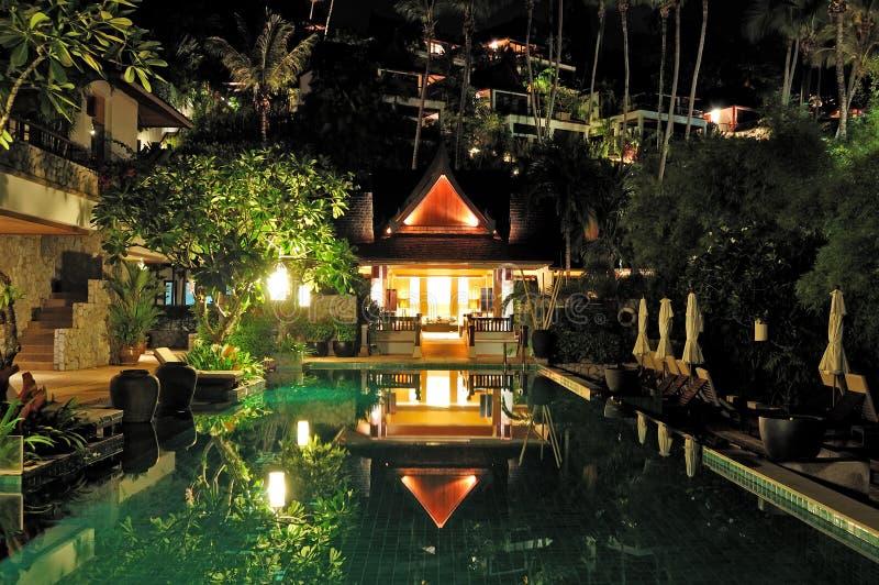 Night illumination at luxury hotel stock image