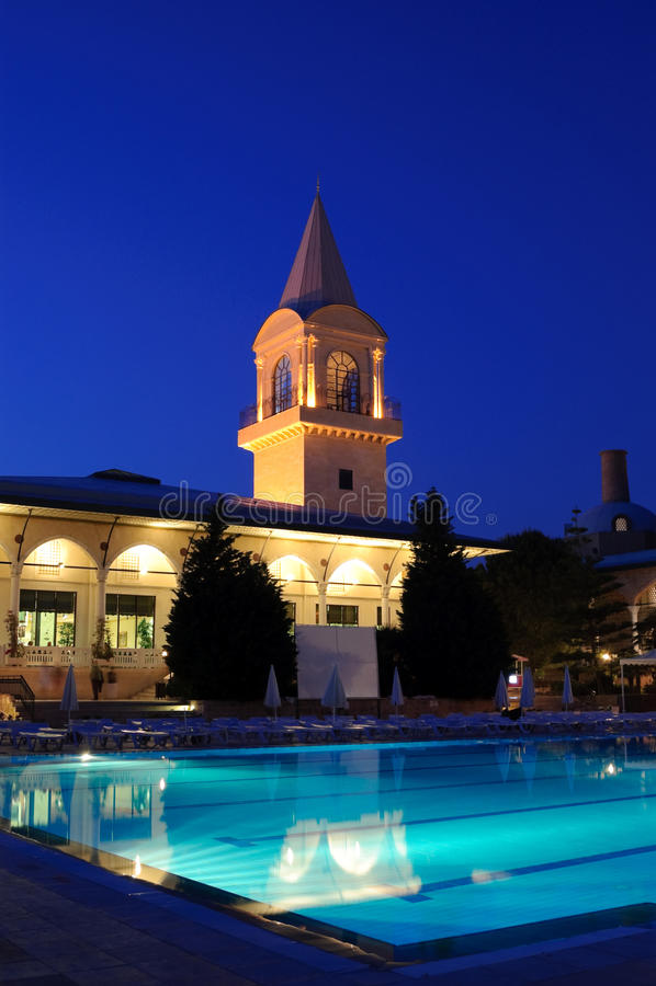 Night illumination in popular hotel stock photography