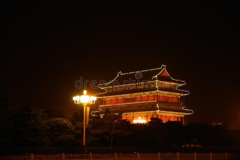 Night illumination of temple royalty free stock images