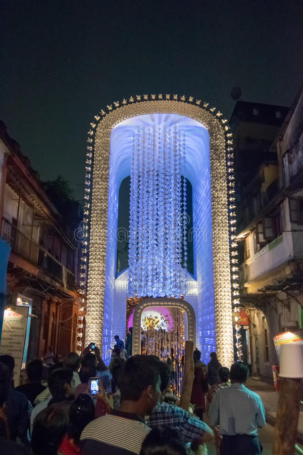 Night image of decorated durga puja pandal kolkata west bengal download night image of decorated durga puja pandal kolkata west bengal india thecheapjerseys Images