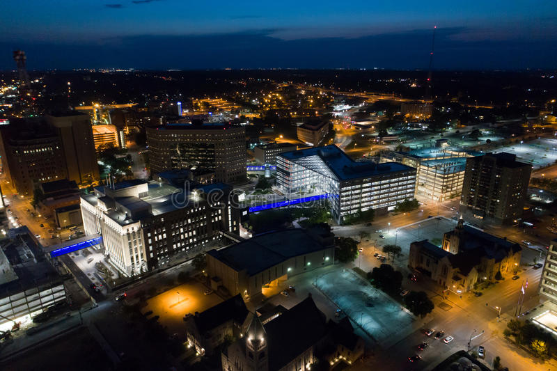 Aerial Downtown Des Moines. Night image of Downtown Des Moines Iowa stock image