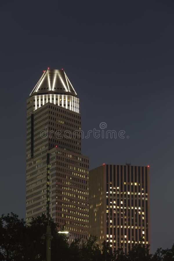 Night image of the 1600 Smith Street Houston Texas. USA royalty free stock photos