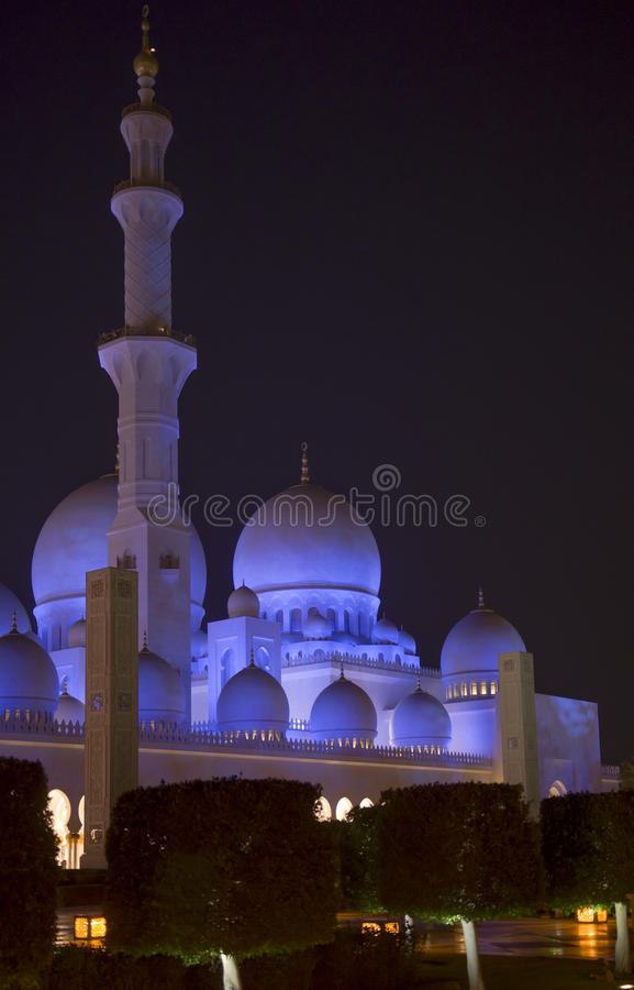 Night image of a Tower at the stunning Sheikh Zayed Grand Mosque in Abu Dhabi UAE. Mineret and towers at night on the beautiful Sheikh Zayed Grand Mosque in Abu royalty free stock photos