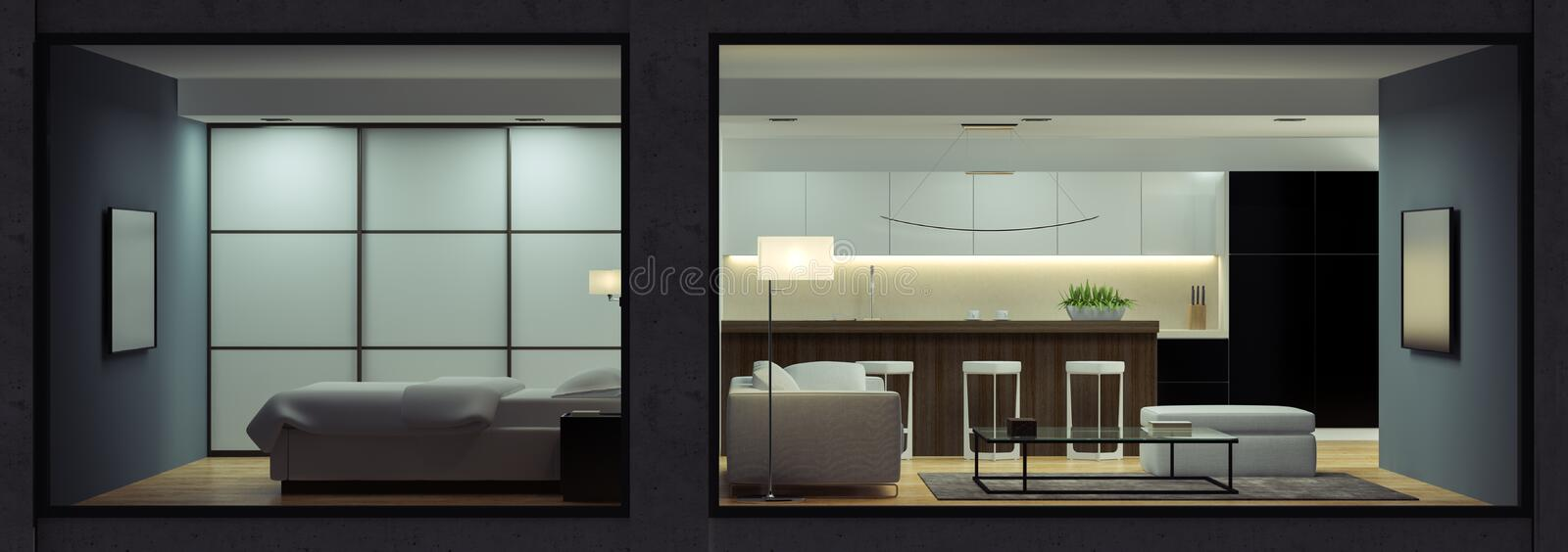 Night interior of the modern loft view from outside. 3D rendering vector illustration