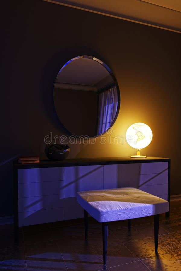 Night interior in a modern style with an unusual lamp. stock photos