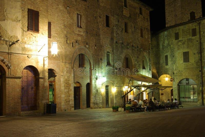 Night in Italy. Night in San Gimignano - Piazza della Cisterna, Tuscany (Toscana), Italy royalty free stock image