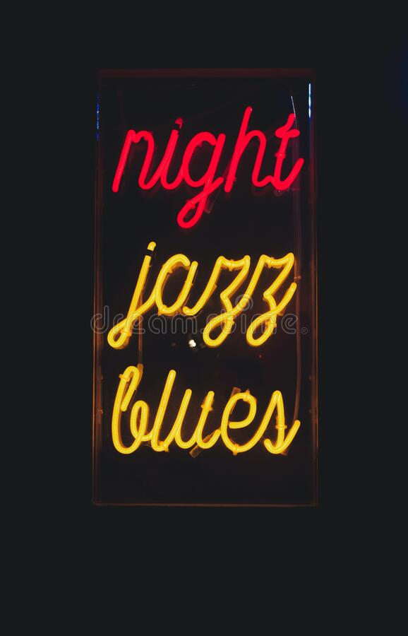 Night jazz blues neon sign stock image