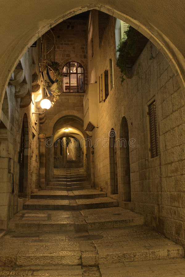 The night in Jerusalem streets royalty free stock photography