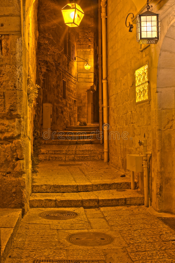 The night in Jerusalem streets royalty free stock image