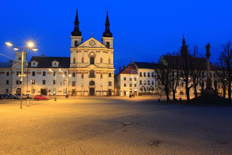 Night Jihlava. The historic center oh Jihlava with the St. Ignatius church at night , Czech Republic stock photos