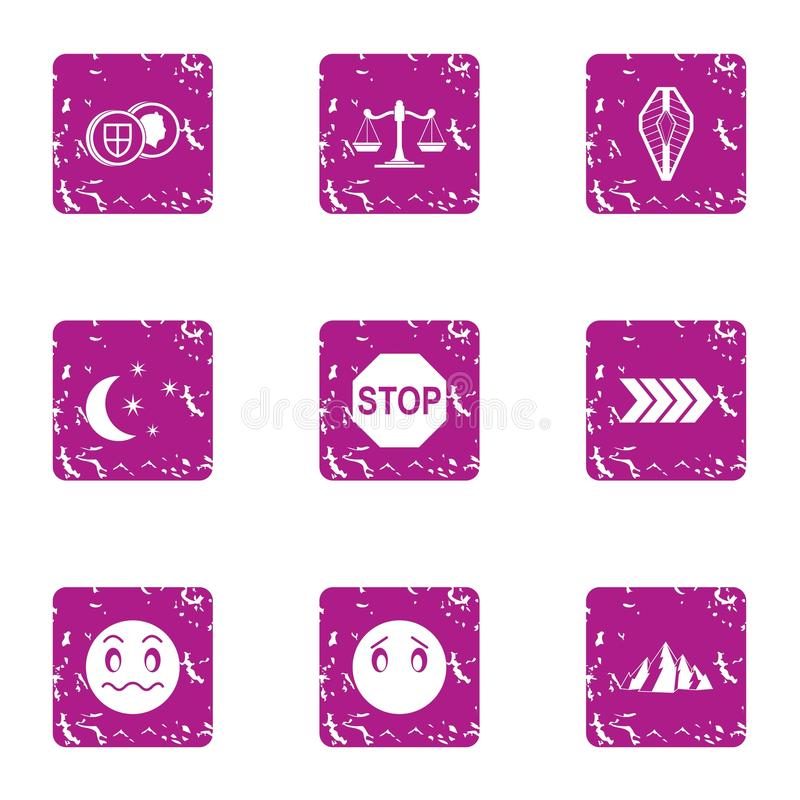 Night journey icons set, grunge style stock illustration