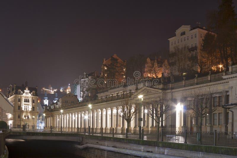 Night Karlovy Vary cityscape royalty free stock image