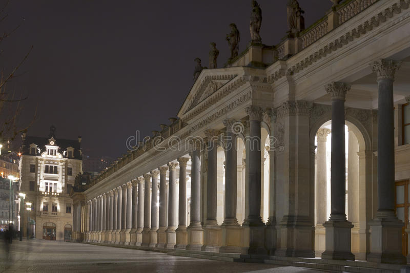 Download Night Karlovy Vary Cityscape With Mill Colonnade Stock Image - Image: 29084287