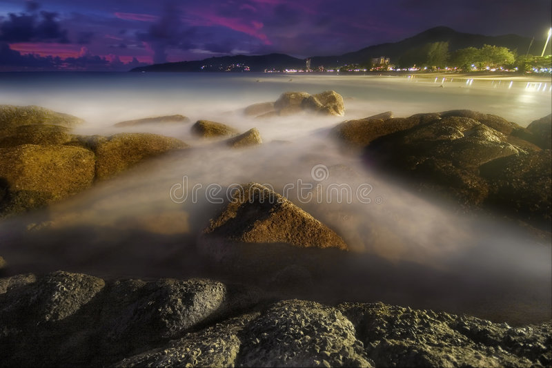 Night of Karon. Photographed on Karon beach, Phuket Island, Thailand stock images