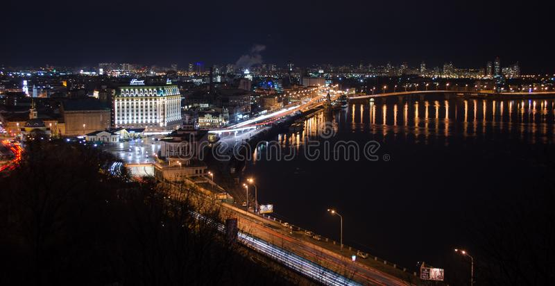 Night Kiev, Podol royalty free stock photo