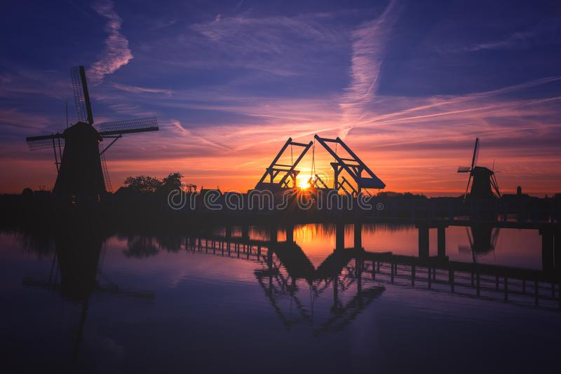 Rural dutch landscape, mills in Kinderdijk at night, Netherlands royalty free stock photo