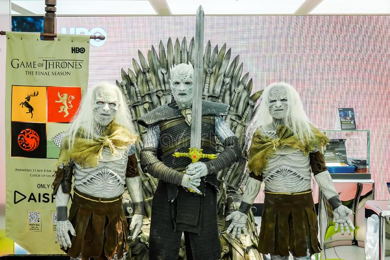 The Night King Night`s King the leader of the White Walkers Cosplay from the series Game of Thrones Present in Bangkok royalty free stock image