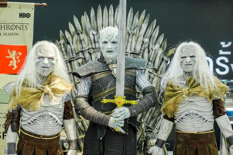 The Night King Night`s King the leader of the White Walkers Cosplay from the series Game of Thrones Present in Bangkok royalty free stock photos