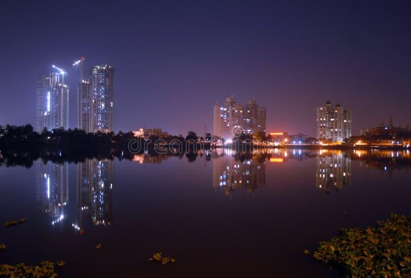Night in Kolkata. Hi rise building reflection at the night in Kolkata-India royalty free stock photo