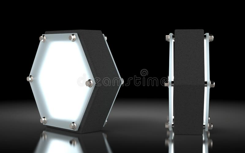 The night lamp prototype. Made from concrete. 3D rendering vector illustration
