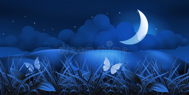 Download Night landscape stock vector. Image of beautiful, horizontal - 20551581