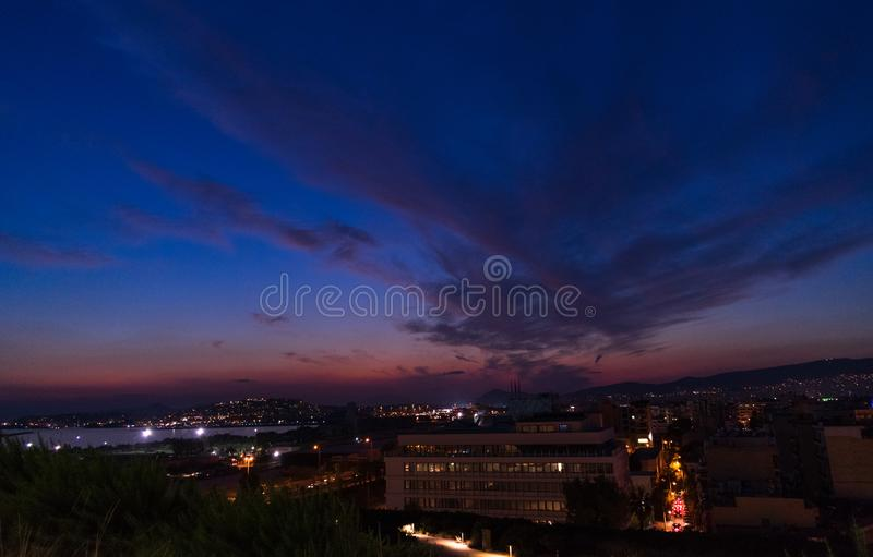Night landscape with amazing clouds stock images