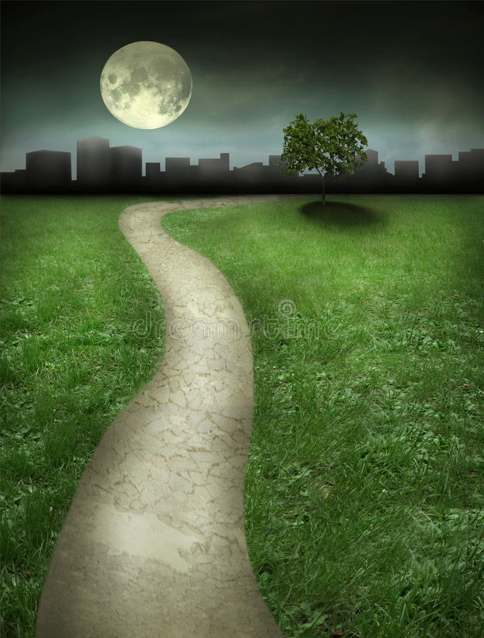 Night Landscape. Beautiful night landscape with path tree moon and sky stock illustration