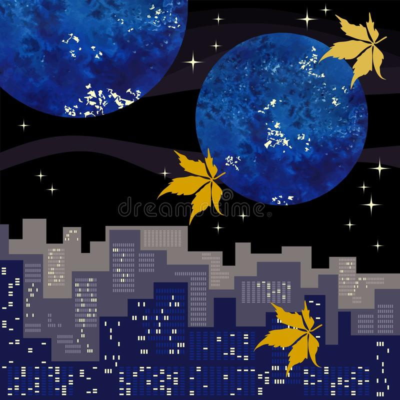 Night landscape with a big city, stars and planets in the sky, flying in the air with yellow leaves of the Vigrin grapes. Autumn. Vector illustration vector illustration