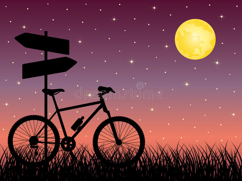 Download Night Landscape With A Bike Stock Vector - Illustration: 15277357