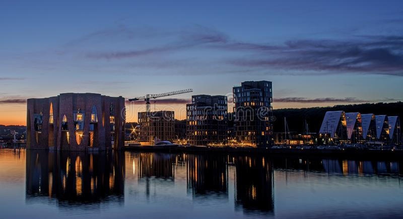 Beatiful evening in Denmark. Night view on the city. stock photos