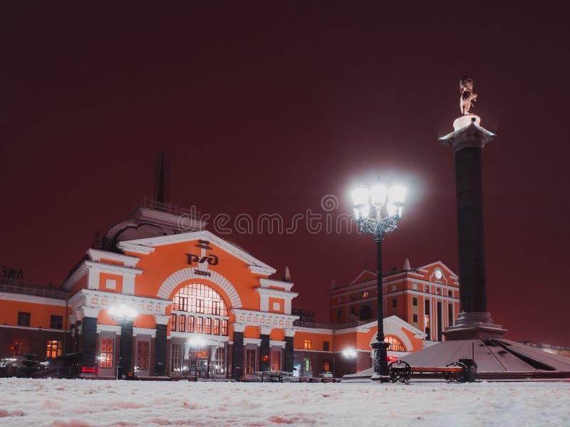 Night landscape of the city. Train station. Krasnoyarsk.Winter. royalty free stock photo