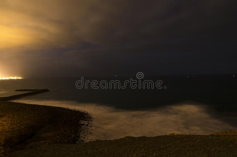 Night landscape of the coast stock image
