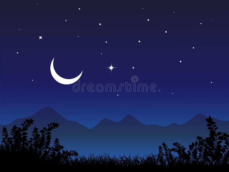 Night landscape with crescent moon and stars at mountain stock illustration