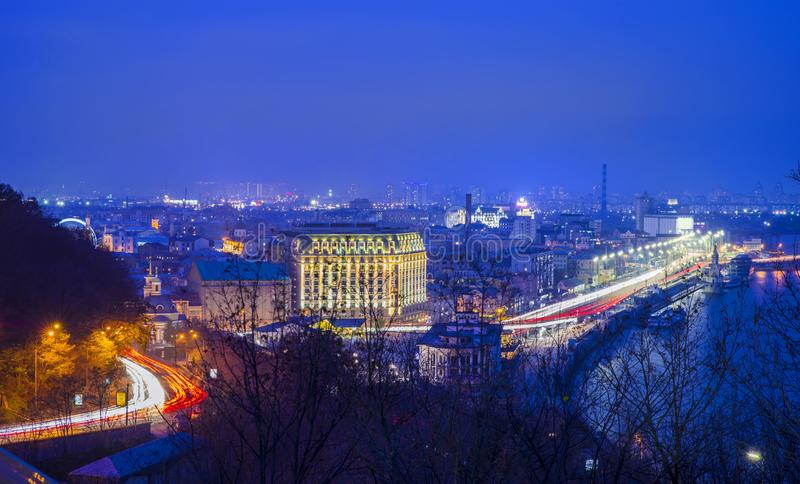 Kiev night landscape royalty free stock images